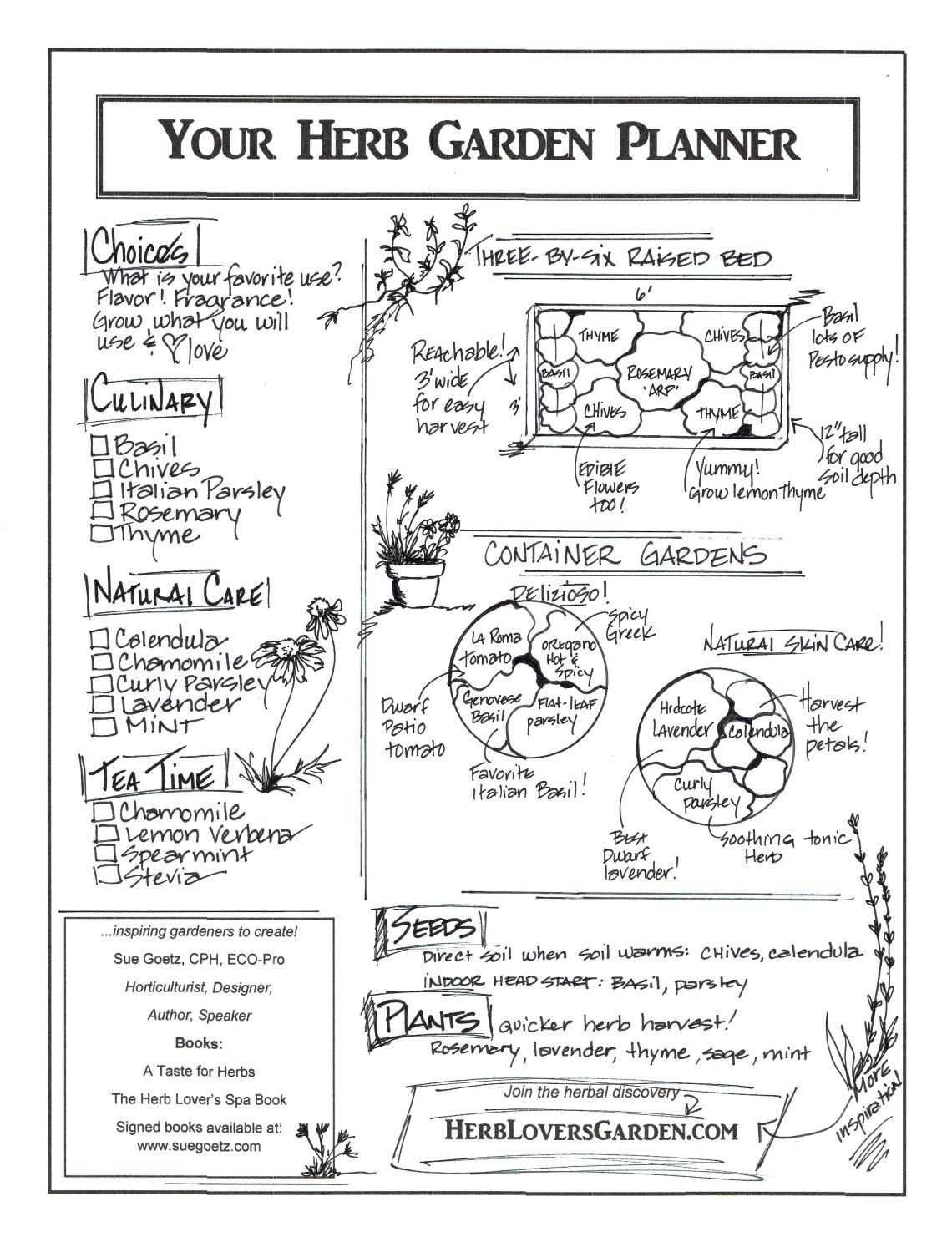 Herb Garden Planner suegoetz dotcom
